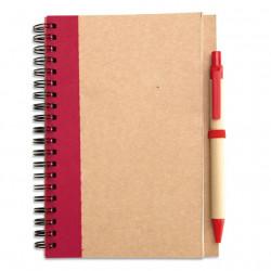 Bloc-notes à spirales 18 x 13 cm et stylo recyclés