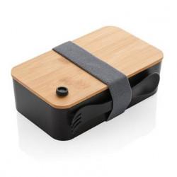 Lunch box avec couvercle en bambou et couvert 2 en 1