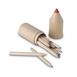 12 crayons de couleur dans un étui en forme de crayon
