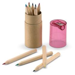 12 crayons de couleur avec taille-crayons