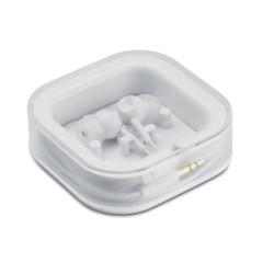 Écouteurs filaires dans un boîtier carré