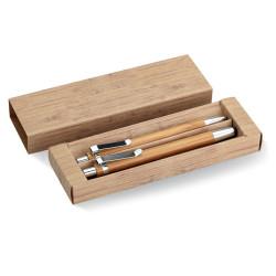 Set comprenant un stylo et un portemine en bambou