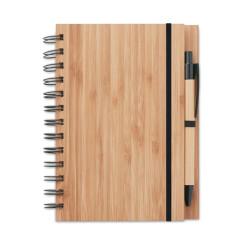 Bloc-notes à spirales 13 x 18 cm avec stylo en bambou