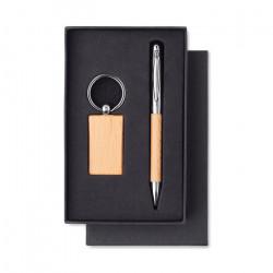 Set porte-clés bois et stylo bille