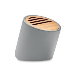 Enceinte bluetooth en ciment calcaire et bambou