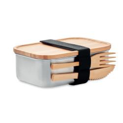 Lunch box en acier inoxydable & bambou